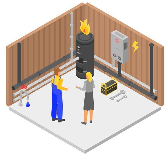 Boiler concept banner. Isometric illustration of boiler vector concept banner for web design